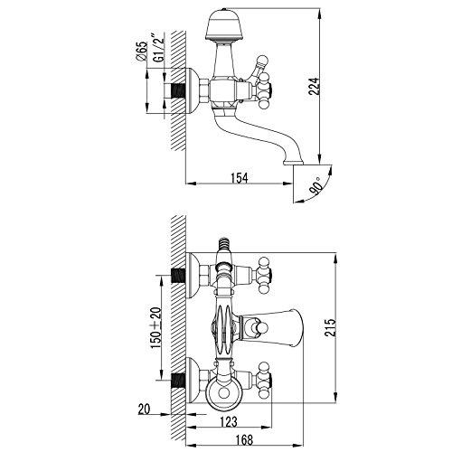 Paulgurkes Design Retro Nostalgie Wannenarmatur mit Handbrause Landhausstil Wannenfüllarmatur Mischbatterie Zweigriffarmatur Brausebatterie mit Duschkopf - 5