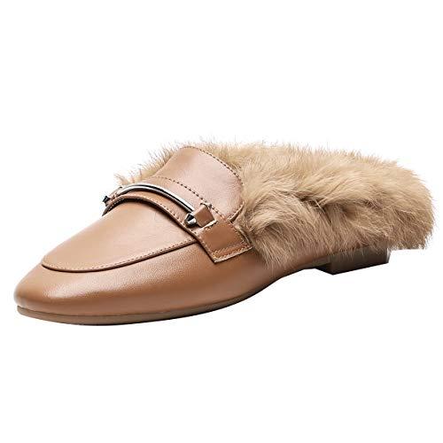JYshoes Flache Pantoletten mit Fell Leder Slipper Outdoor Herbst Winter Hausschuhe Damen Mules Aprikose 41EU