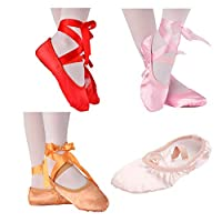 Meijunter Silk Satin Ballet Shoes with Ribbon - Indoor Anti-Slip Pads Yoga Gymnastic Flat Leather Split Sole Slippers for Girls Women Toddler Little Big Kids