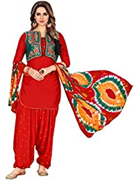 Lilots Glaze Cotton Red Heavy Embroidery With Print Dupatta Dress Material