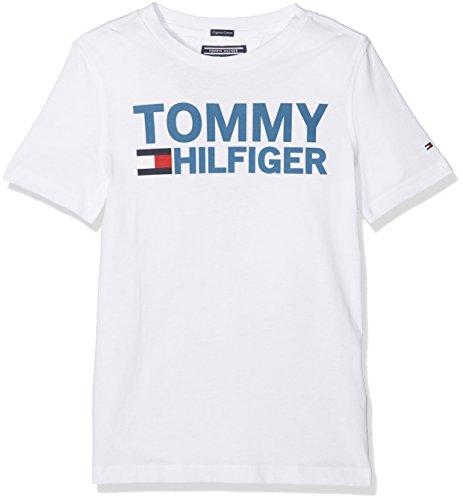 Tommy hilfiger essential graphic tee s/s, t-shirt bambino, bianco (bright white 123), 104 (taglia produttore: 4)