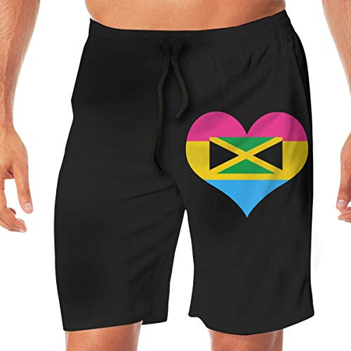 Generic Men Swimming Shorts Pansexual Heart Jamaica Flag Summer Vacation Beach Boardshort with Pocket,XL -