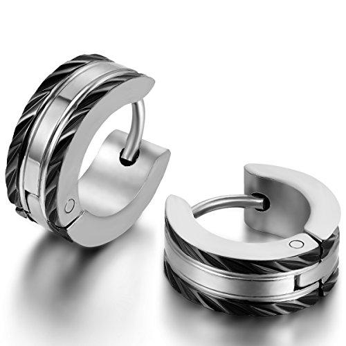 JewelryWe Schmuck Herren-Ohrringe, Edelstahl Creolen Gestüt Ohrstecker, Schwarz Silber