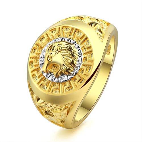 Thumby Hip Hop Ring Löwenkopf Ring Flut Marke Hiphop Herrenring, Flacher Ring, Lässig, Vergoldet, US 8