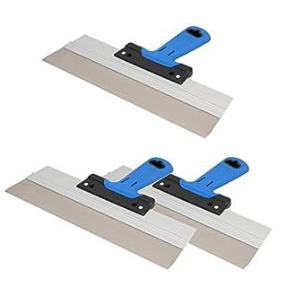 3er Set DEWEPRO Edelstahl Fassadenspachtel - Dekorspachtel - Flächenspachtel - Flächenrakel mit Aluhalter und 2-Komponenten Softgriff- Größe: 350x50mm