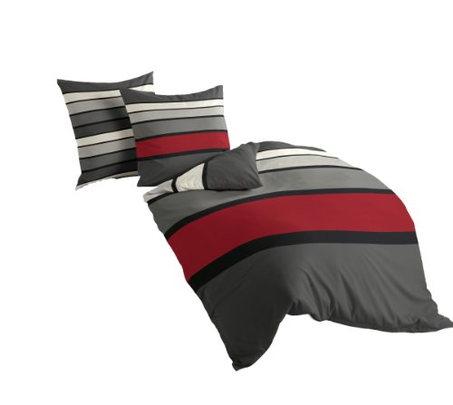 Bierbaum Bettwäsche 4757, Mako-Satin, Made in Germany, rot 63, 200x200 + 2x 80x80 cm, für das Doppelbett