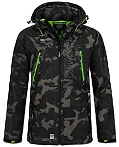 Geographical Norway Herren Softshell Outdoor Jacke Tambour/Taco/Techno abnehmbare Kapuze Black/Green 3XL