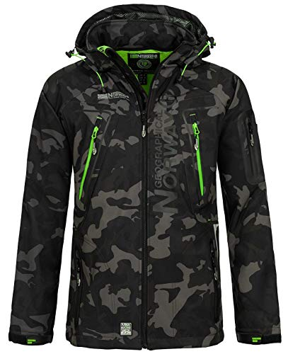 Geographical Norway Herren Softshell Outdoor Jacke Tambour/Taco/Techno abnehmbare Kapuze Black/Green M