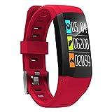 OOLIFENG Fitness-Tracker, GPS Locator Intelligentes Armband Pulsmesser Mit Bluetooth Schrittzähler Für Android Ios,Red