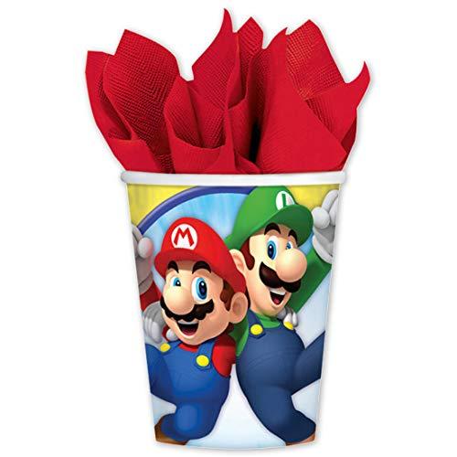 (NET TOYS 8 Becher Super Mario Brothers | Fassungsvermögen 250ml | Originelle Party-Deko Party-Becher Partygeschirr | Genau richtig für Kindergeburtstag & Kinderfest)
