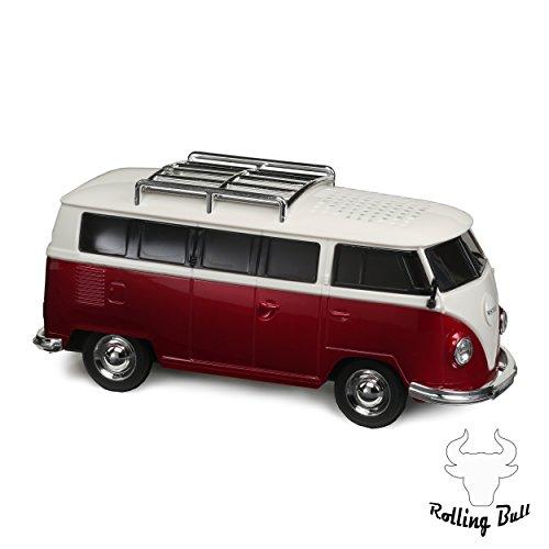 Preisvergleich Produktbild Bulli Bus mit UKW Radio Mini Soundstation Musikbox Würfel ca. 20 x 8 x 8 cm (MP3 Player, Stereo Lautsprecher, man Line In Funktion, micro SD Kartenslot) (Rot)