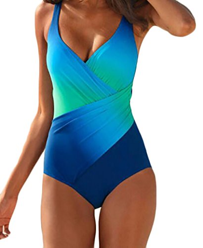 Damen Badeanzug Swimsuit Top Monokini One Piece Push Up Tiefem V Ladies Figurformend Bunt Rückenfrei Beachwear Swimwear Badeanzüge Bathing Suit (Lady Hook Kostüme)