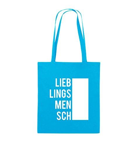 Comedy Bags - LIEBLINGSMENSCH - BLOCK - Jutebeutel - lange Henkel - 38x42cm - Farbe: Schwarz / Pink Hellblau / Weiss