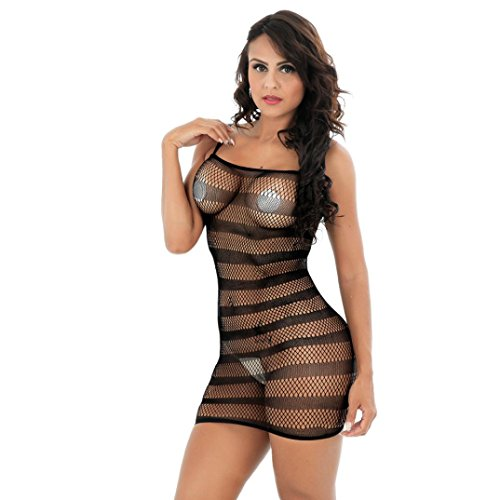 *Bodystocking,LUCKYCAT Frauen erotik Dessous Netzstrumpf ouvert Bodystocking offen Crotch Body Nachtwäsche Versuchung Nightgown Nighty Unterwäsche (Schwarz, one size)*