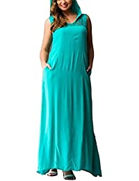 bigood robe lonuge femme col rond grande taille avec capuche casual - Robe Habille Grande Taille Pour Mariage