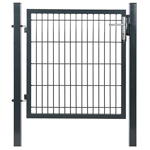 VERDELOOK Cancello per recinzioni in Ferro 100x100 Centimetri, comprensivo di Pali di Sostegno Diametro 60 Millimetri
