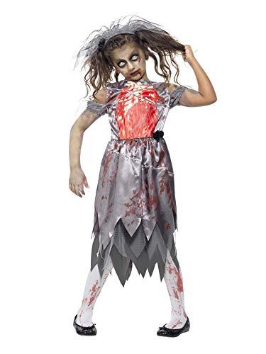 Kleine Kostüm Mädchen Für Zombie - Smiffys, Kinder Mädchen Zombie-Braut Kostüm, Kleid mit aufgedruckten Brustteilen und Schleier, Größe: T (Alter 12+ Jahre), 43027