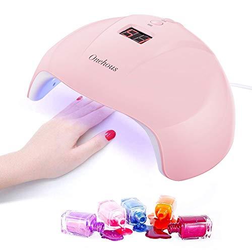UV Lampe für Gelnägel,Nageltrockner für Alle Nagellacke,Gel Lamp Led Tragbarer Nageltrockner mit 30s/60s/90s Timer Einstellung,Infrarot Sensor, USB Aufladen mit LCD Display(Rosa)