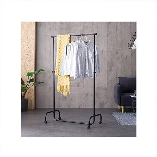 HPYR Metallmantel Standgarderobe mit 1 Hängestange mit 4 beweglichen Rädern, einfache Bodenaufhänger stabil langlebig geeignet für Schlafzimmer Wohnzimmer-2