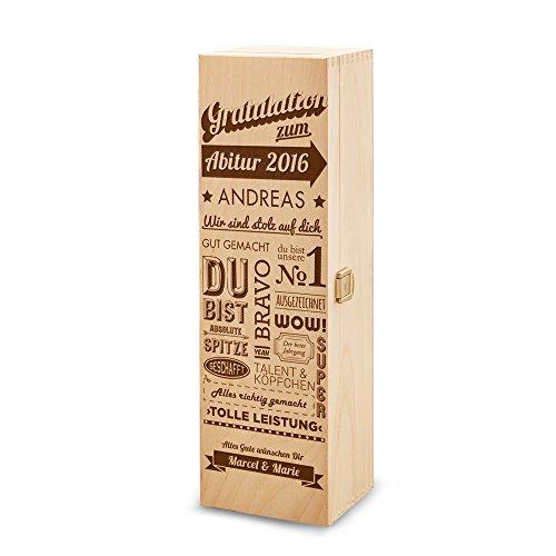 Casa Vivente - Weinbox aus Holz mit Gravur – Gratulation zum Abitur – Personalisiert mit Namen und Jahreszahl – Weinkiste als Geschenkidee – Verpackung für Weinflasche – Geschenk zum Schulabschluss