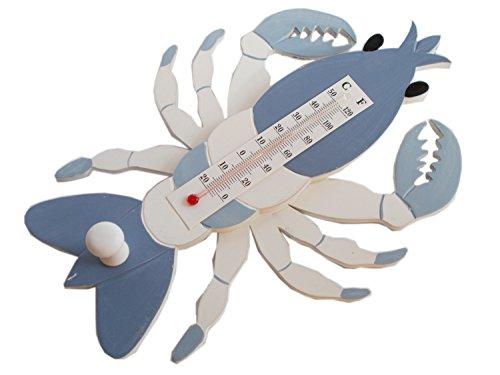 Unbekannt Maritimes Thermometer und Garderobenhaken Hummer in Blau Weiß aus Holz 26 cm x 19 cm
