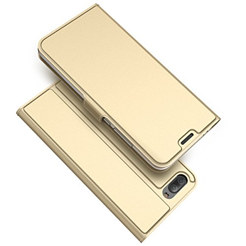 ChainPlus Huawei Honor 10 Wallet Case, Stylish Slim PU Leather Durable Stand and Card Holders Wallet Phone Cover Folio Protective Case for Huawei Honor 10 -Golden (Light Custom Switch)