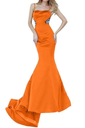 ivyd ressing Femme Spaghetti Mermaid Long Satin Lave-vaisselle Vêtements Prom robe robe du soir Orange - Orange