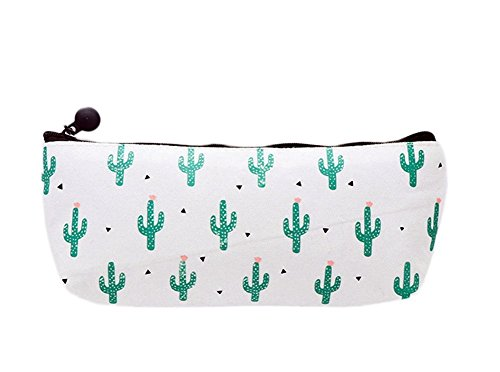 Weimay 1PC canvas Pen bag lovely trapezoidale Cartoon cactus astuccio con chiusura a cerniera