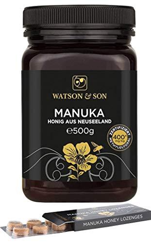 Watson & Son Manuka Honig MGO 400+ 500g + gratis Manuka Lutschtabletten 20g MGO 400+ | Zertifizierte Premium Qualität aus Neuseeland | Lozenges Lutschbonbons