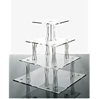 4 Tier Square Clear Acrylic Cupcake Stand from Wedding Acrylics