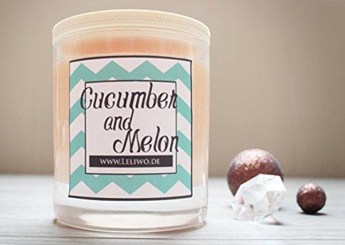 Frische Gurke Melone Kerze (Duftkerze Cucumber & Melon, handmade aus Sojawachs)