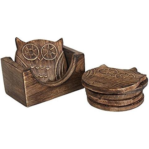 Regalo Día de la Madre Búho adorable Conjunto en forma de 6 tallado mano Bar de madera Té Café Copas taza Coaster con el sostenedor
