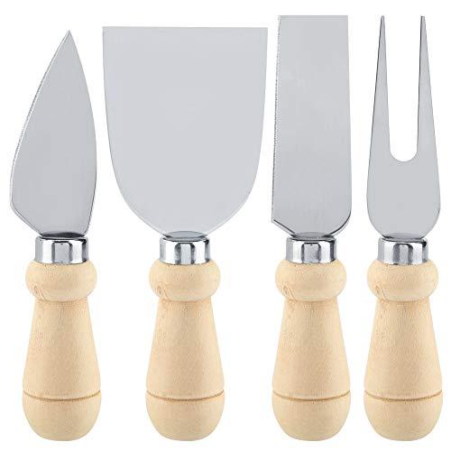 4Pcs / Set Coltelli per formaggio in acciaio inox Set di manico in legno Coltello da taglio per formaggio Affettatrice Set di coltelli