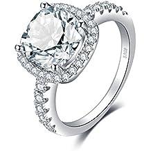 81233863d026b JewelryPalace en Forme de Coussin 3ct Zircone Cubique Mariage Anniversaire  Halo Solitaire Fiançailles Bague de Femme