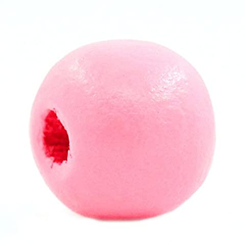 HOUSWEETY 200 Perles Intercalaire en Bois Rond Rose 10mm Dia.