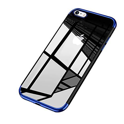 Surakey cover iphone 7/8, ultra trasparente hd crystal clear tpu silicone cover bordo placcatura colorata soft touch protettiva skin antiurto ultra sottile e morbida custodia per iphone 7/8,blu