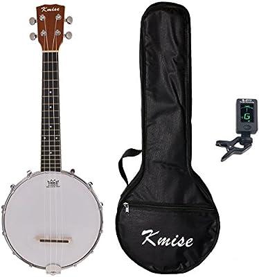 Kmise Banjolele de 4cuerdas Banjo ukelele UKE bolsa de concierto tamaño de 23pulgadas Sapele con sintonizador correa