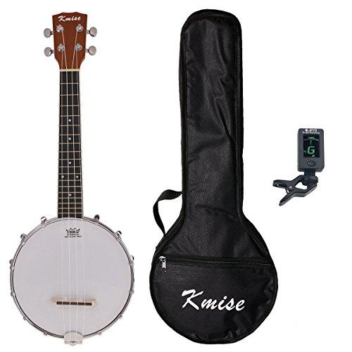 Kmise Banjo Ukulele 4 Saite Konzert Banjos 23 Zoll Sapele Holz mit Tasche Tuner