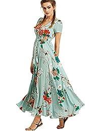 BienBien Vestito Lungo Elegante Donna Cerimonia Abito Scollo a V Profondo  Manica Corta Vestiti Lunghi Boho 760f000a599