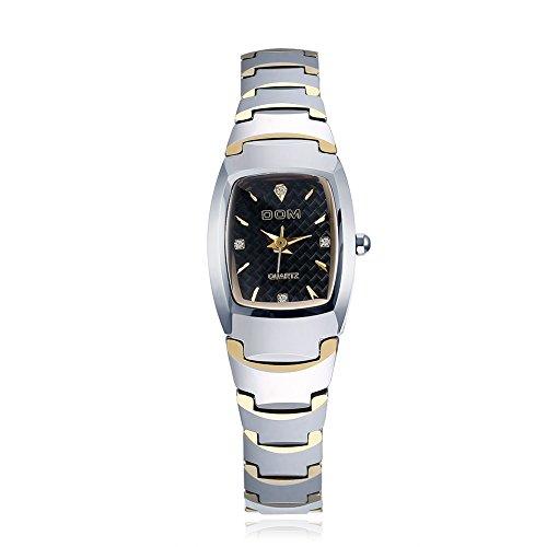 iLove EU Damen Armbanduhr Luxus Elegant Wasserdicht Wolfram Wolframcarbid Business Casual Analog Quarz Uhr Quarzuhr mit Rechteck Zifferblatt Gold Silber