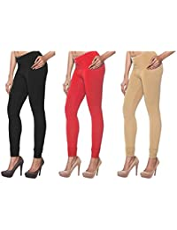 KYRA Premium Quality Churidar Leggings Combo (Pack Of 3) In Free Size Suitable For Waist 28 To 40 Inches