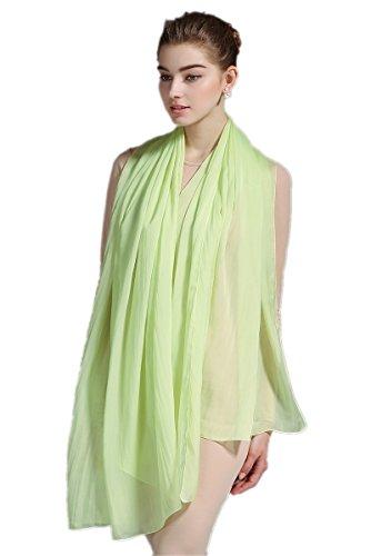 Prettystern - 180/110 cm xxl sciarpa 100% 100% seta rubato pianura sposa tinta unita colore spiaggia - a17 verde fresco