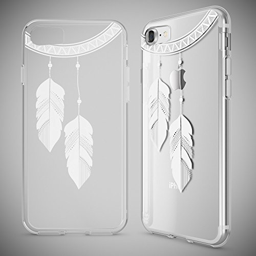 iPhone 8 / 7 Hülle Handyhülle von NICA, Slim Silikon Motiv Case Crystal Schutz Dünn Durchsichtig, Etui Handy-Tasche Back-Cover Transparent Bumper für Apple iPhone 7 / 8 - Transparent Chain Feathers