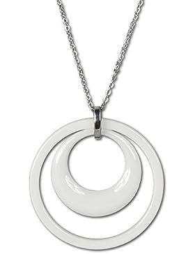 Amello Damen-Halskette Edelstahl Doppel weiß ESKX05W