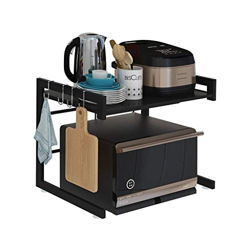 BCL Soporte Microondas Soporte De Microondas Ajustable, Metal Microondas Horno Rack Stand Estantes De Cocina For Almacenamiento Spice Mini Nevera Horno De Microondas con Ganchos