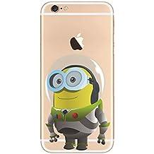 iPhone 5s Minion Silicona Caso / Dibujos Animados Cubierta de Gel para Apple iPhone 5s 5 / Protector de Pantalla y Paño / iCHOOSE / Astronauta
