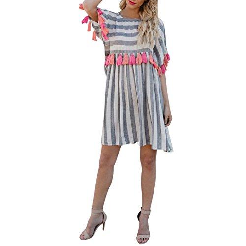 Oyedens Große Größen Damen Casual Streifen Minikleid, Druck Kurzarm Multicolor Fringe Kleider, Frauen Elegant Quaste Kleid, Sommerkleid Strandkleid Party Abendkleid Plus Size Neue Mode Elegant (XL, Grau)