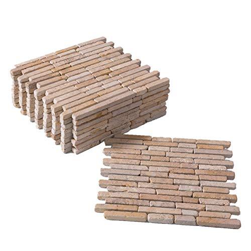BodenMax® Travertine TPA-CLP mediterran Naturstein Mosaik für Innen- und Außenwand oder Boden cremefarben beige