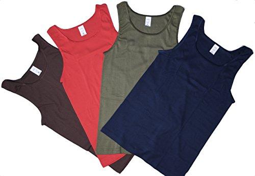 4 bis 16 Stück Damen Unterhemden unifarbig ohne Spitze in rot dunkelblau olive und braun Unterhemd ohne Arm ohne Spitze Grösse 36/38 bis 52/54 wählbar 8 Damen Unterhemden 4x2 Pack