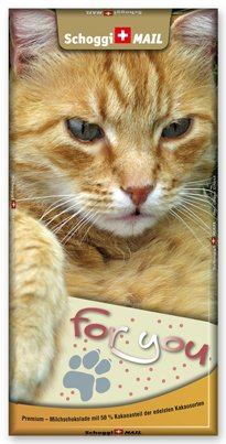 Preisvergleich Produktbild Grusskarte & Schweizer Premium Schokolade, Postkarte - For You, Katze